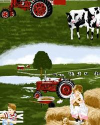 Foust Textiles Inc Farmall Tractor Farm Scene Green Fabric