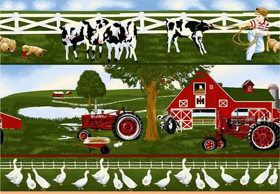 Foust textiles inc fabrics farmall tractor scenic border green - Farmall tractor wallpaper border ...