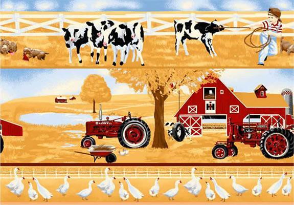 Farmall tractor scenic border wheat foust textiles inc - Farmall tractor wallpaper border ...