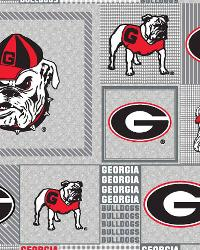 Beige College Fleece Fabric  Georgia Bulldogs Back to School Fleece