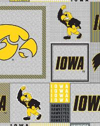 Beige College Fleece Fabric  Iowa Hawkeyes Back to School Fleece