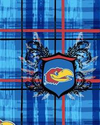 Kansas Jayhawks Plaid Cotton Print by