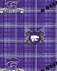 Kansas State Wildcats Plaid Cotton Print by