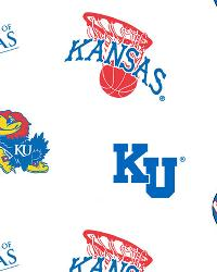 Kansas Jayhawks Cotton Print - White by
