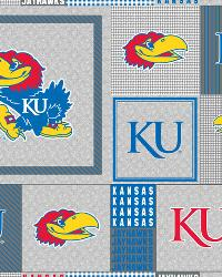 Beige College Fleece Fabric  Kansas Jayhawks Back to School Fleece