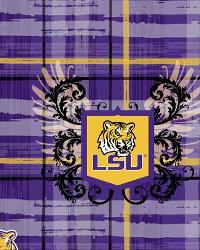 Louisiana State Tigers Plaid Cotton Print by