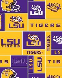 College Fleece Fabric  Louisiana State Tigers Block Fleece