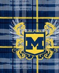 Michigan Wolverines Plaid Cotton Print by