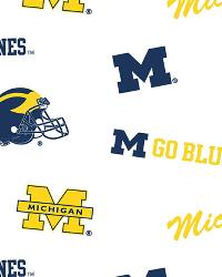 Michigan Wolverines Cotton Print - White by