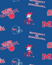 Beige College Fleece Fabric  Mississippi Rebels Fleece