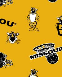 Missouri Tigers Cotton Print - Yellow by