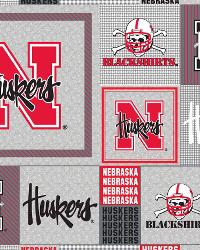Beige College Fleece Fabric  Nebraska Cornhuskers Back to School Fleece
