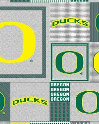 Beige College Fleece Fabric  Oregon Ducks Back to School Fleece