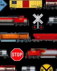 Foust Textiles Inc In Motion Trains Black Cotton Print Fabric