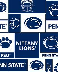 Beige College Fleece Fabric  Penn State Lions Block Fleece