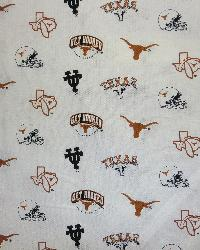 Texas Longhorns Cotton Print-White by