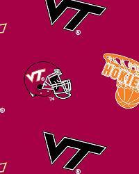 Virginia Tech Hokies Cotton Print - Red by