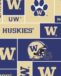 Beige College Fleece Fabric  Washington Huskies Block Fleece