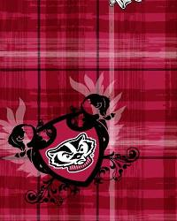 Wisconsin Badgers Plaid Cotton Print by