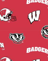 College Cotton Print Fabric  Wisconsin Badgers Cotton Print - Red