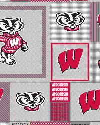 Beige College Fleece Fabric  Wisconsin Badgers Back to School Fleece