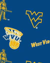 West Virginia Mountaineers Cotton Print - Blue by