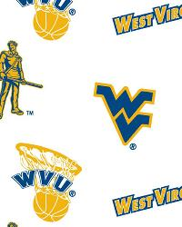 West Virginia Mountaineers Cotton Print - White by