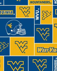 Beige College Fleece Fabric  West Virginia Mountaineers Block Fleece