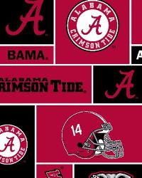Beige College Fleece Fabric  Alabama Crimson Tide Block Fleece