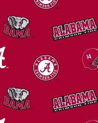 Beige College Fleece Fabric  Alabama Crimson Tide Red Fleece