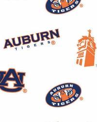 Auburn Tigers White Cotton Print by