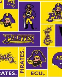 Beige College Fleece Fabric  East Carolina Pirates Block Fleece