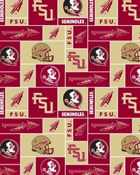 Beige College Fleece Fabric  Florida State Seminoles Block Fleece