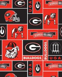 Beige College Fleece Fabric  Georgia Bulldogs Block Fleece