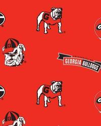 College Fleece Fabric  Georgia Bulldogs Red Fleece