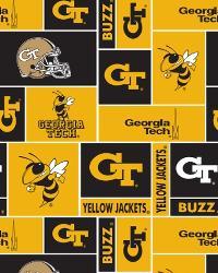 College Fleece Fabric  Georgia Tech Yellow Jackets Block Fleece
