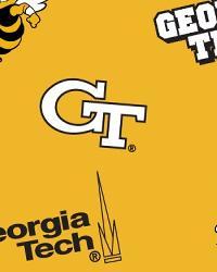 College Fleece Fabric  Georgia Tech Yellow Jackets Yellow Fleece