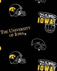 College Fleece Fabric  Iowa Hawkeyes Black Fleece