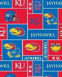 College Fleece Fabric  Kansas Jayhawks Block Fleece