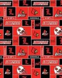 Beige College Fleece Fabric  Louisville Cardinals Block Fleece
