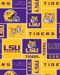 College Fleece Fabric  LSU Tigers Block Fleece