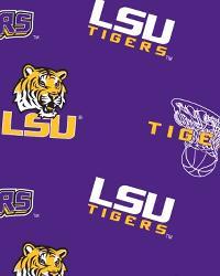 College Fleece Fabric  LSU Tigers Purple Fleece
