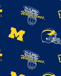 Beige College Fleece Fabric  Michigan Wolverines Blue Fleece