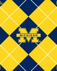 Beige College Fleece Fabric  Michigan Wolverines Argyle Fleece