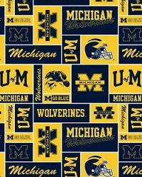 Michigan Wolverines Block Cotton Print by