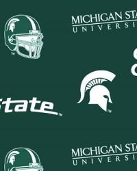 Michigan State Spartans Green Cotton Print by