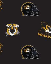 College Fleece Fabric  Missouri Tigers Black Fleece