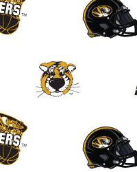 Missouri Tigers White Cotton Print by