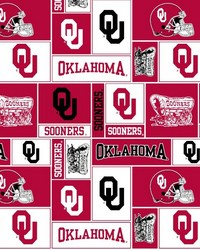 Beige College Fleece Fabric  Oklahoma Sooners Block Fleece