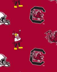 College Fleece Fabric  South Carolina Gamecocks Red Fleece